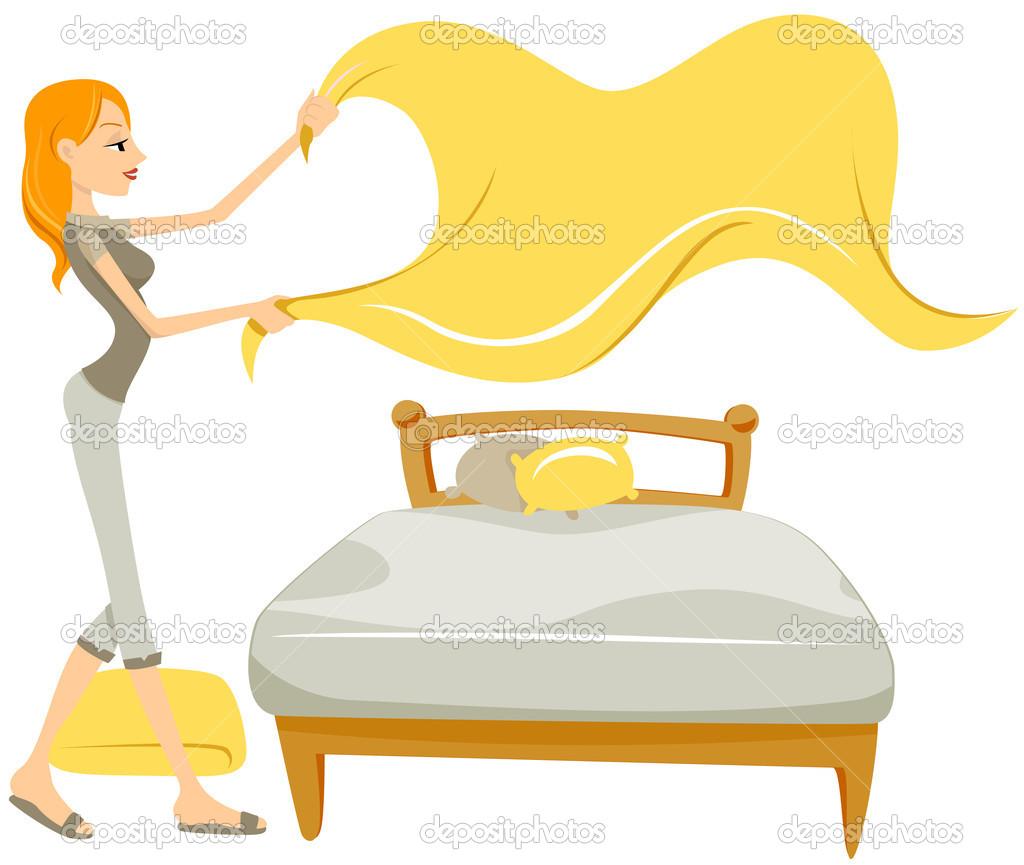 Woman Changing Sheet