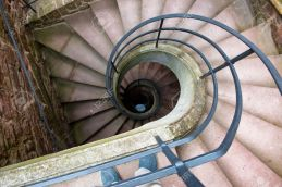 Spiral Staircase Winding Down in Historic Building