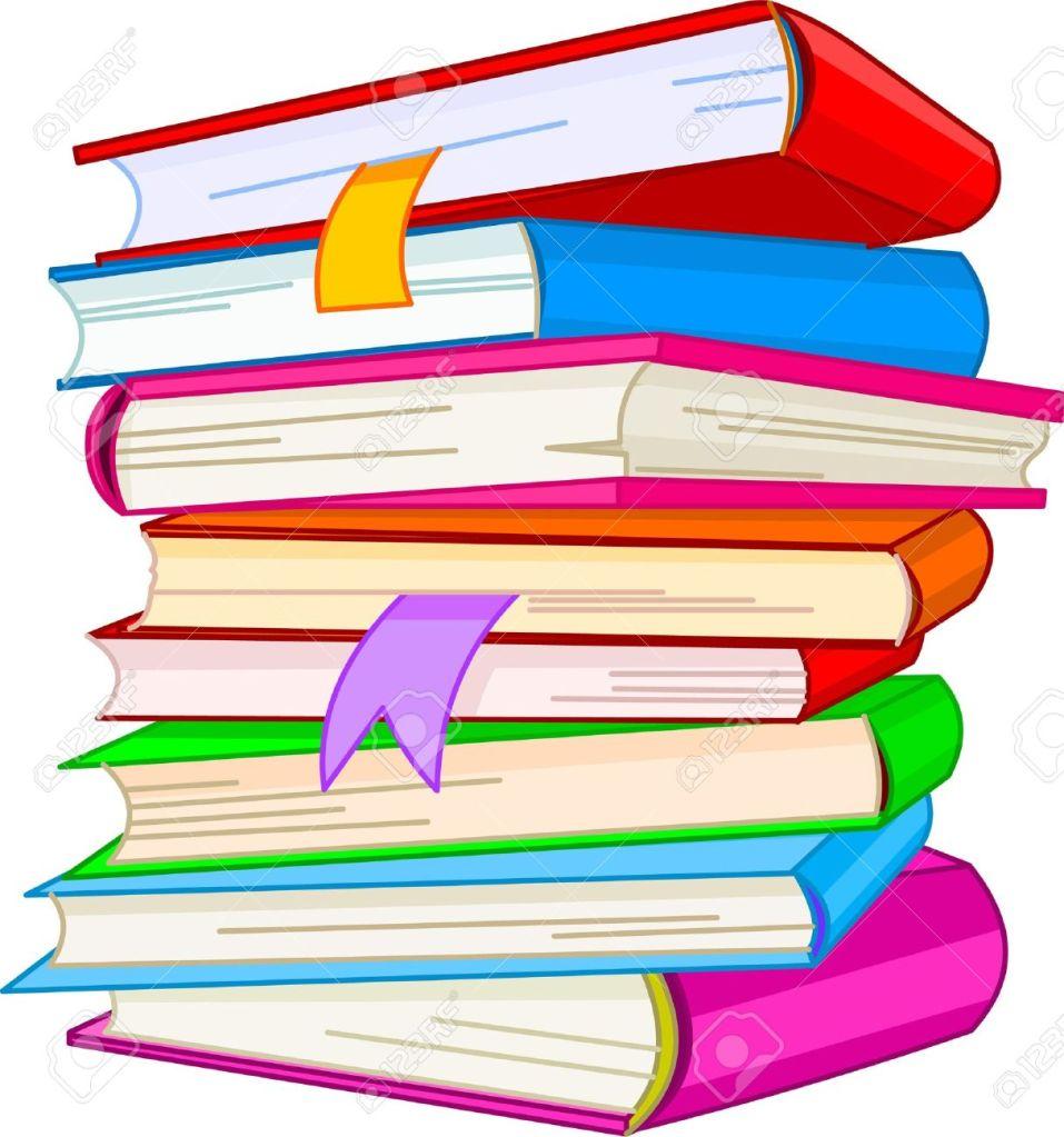 Cartoon style pile of hardback books