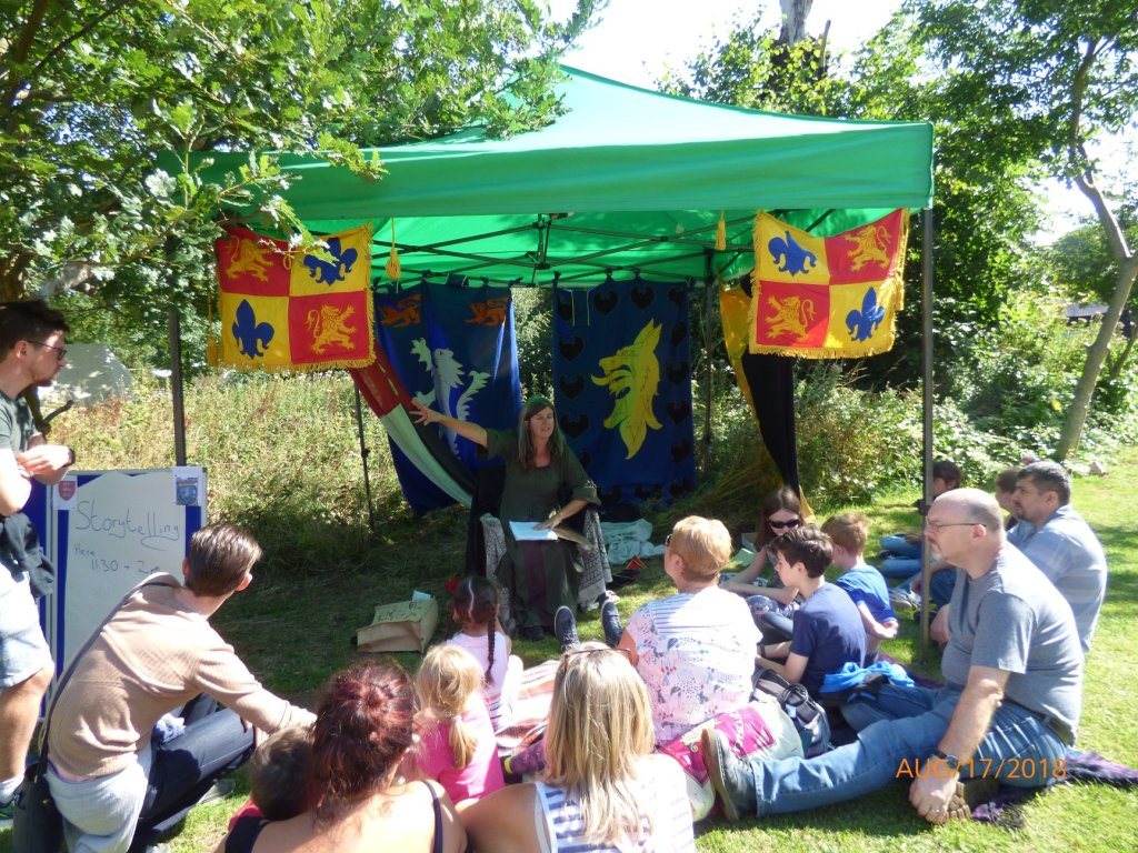 Diane Woodrow, author of The Little Yellow Boat and Abergele writing workshop facilitator story telling at Gwrych Castle August 2018